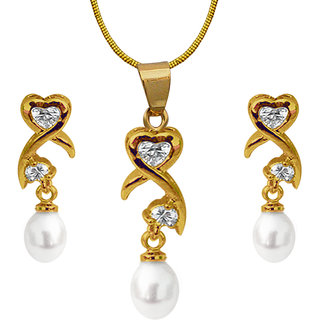 Nisa Pearls White Coloured Gold Plated Necklace (Design 47)