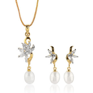 Nisa Pearls White Coloured Gold Plated Necklace (Design 13)