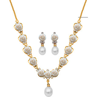 Nisa Pearls White Coloured Gold Plated Necklace (Design 8)