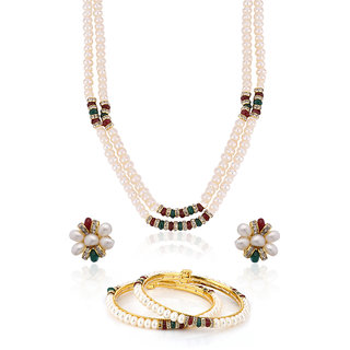 Nisa Pearls White Coloured Gold Plated Necklace (Design 5)