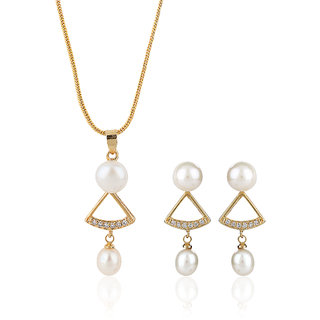 Nisa Pearls White Coloured Gold Plated Necklace