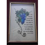 Handmade Quilled Grape Vine Wall Art With Bible Verse - Framed