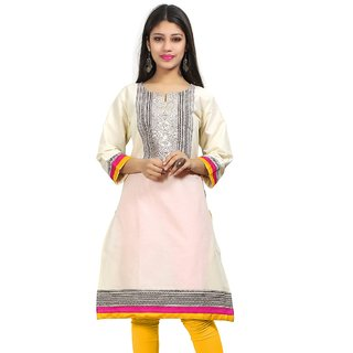 VALAS Womens Cotton Embroidered Off White Long Kurti