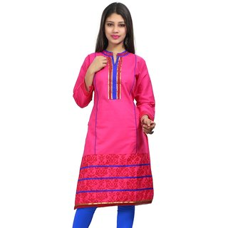 VALAS Womens Cotton Embroidered Pink Long Kurti