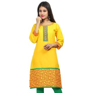VALAS Womens Cotton Embroidered Lemon Yellow Long Kurti