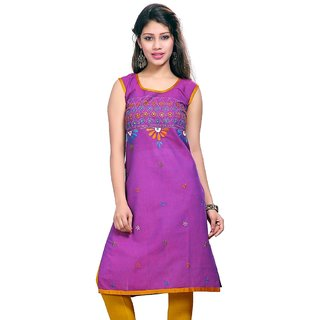 VALAS Womens Cotton Embroidered Purple Long Kurti