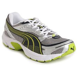 Puma Axis II IND Silver & Lime Green Sports Shoes