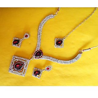 DESIGNER CZ DIAMONDS ,RUBY 4 PIECE NECKLACE SET