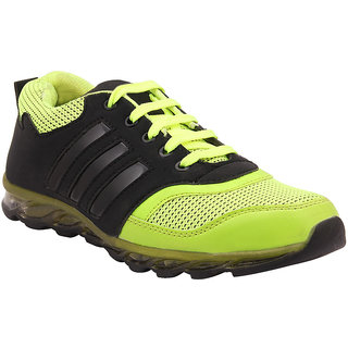 Mens Black Green Lace-Up Running Shoes