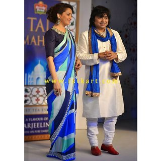 Madhuri Dixit In Blue Bollywood Saree