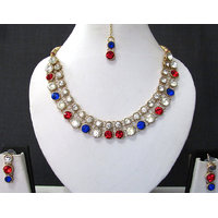 Blue And Red Stone Necklace Set