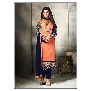 Thankar Peach And Navy Blue Embroidered Cotton Dress Mateirial
