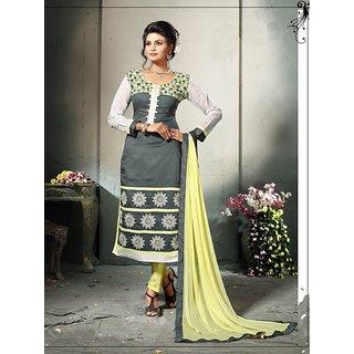 Thankar Grey And Lemon Embroidered Cotton Dress Mateirial