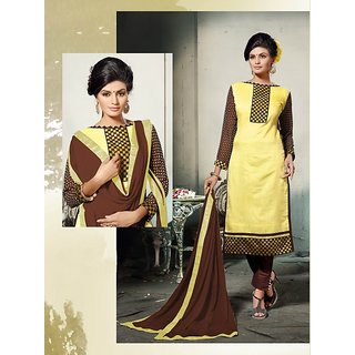 Thankar Yellow And Brown Embroidered Cotton Dress Mateirial