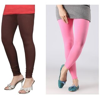 Stylobby Pink  Brown Cotton Lycra Plain Legging