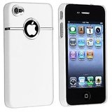 Rka Deluxe W/Chrome Rubberized Snapon Hard Back Cover Case For Iphone 4 4S White