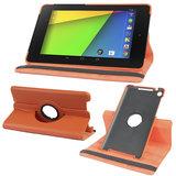 Rka 360 Degree Rotating Smart Leather Case Cover For Google Nexus 7 Tablet 2Nd Gen 2013 Orange
