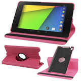Rka 360 Degree Rotating Smart Leather Case Cover For Google Nexus 7 Tablet 2Nd Gen 2013 Hot Pink