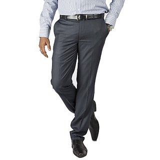Kanva  Navy Blue Formal Men's Trouser