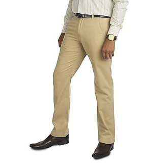 Kanva Plain Beige Cotton Pants For Men