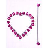 Shop 24x7-Beautiful Crystal Stone Heart Shape Curtain Lock Dark Pink  (Set Of 2)
