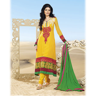 Embroidered Yellow A-Line Suit