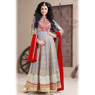 Gray Anarkali Salwar Kameez Suit Design 1