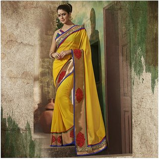 Yellow Designer Party wear Saree