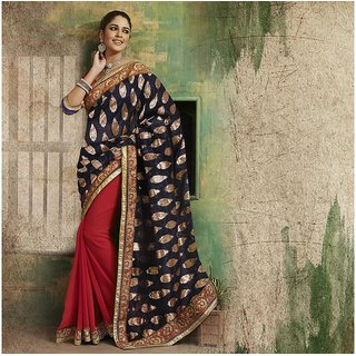 Red and Blue Designer Party wear Saree