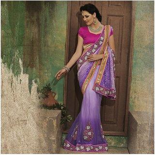 Mauve and Purple Designer Party wear Saree