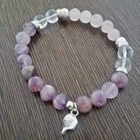 Amethyst, Rose Quartz And Clear Quartz Bracelet
