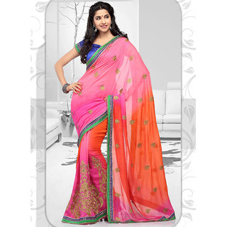 Pleasing Pink Georgette Embroidered Saree available at ShopClues for Rs.6110