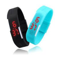 Led Digital Jelly BlackSky Blue Wristwatch With Magnet Lock