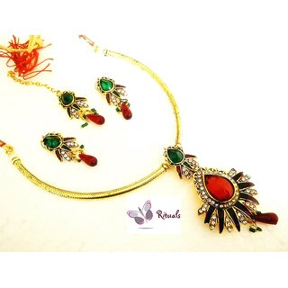 Gold Plated Polki Necklace Set Ruby And Emeralds