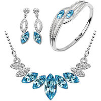 Cyan water drop blue pendant set and bracelet combo for women