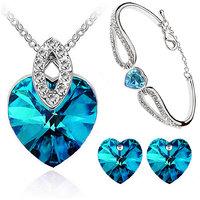 Cyan heart shaped blue pendant set and bracelet combo for women