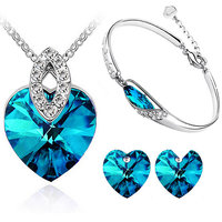 Cyan heart shaped blue pendant set and bracelet combo for women