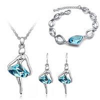 Cyan dancing girl blue pendant set and bracelet combo for women
