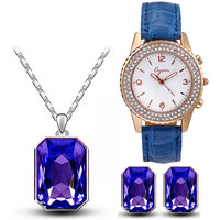 Cyan geomatric blue pendant set and watch combo for women