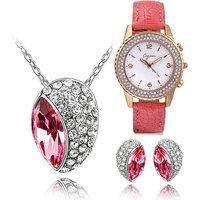 Cyan pink rhodium plated jewelry set and watch combo for women