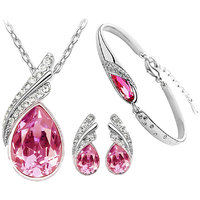 Cyan Pink crystal pendant set and bracelet combo for women