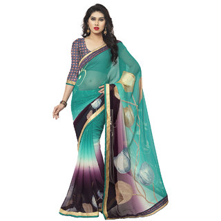 Sareemall Multi Chiffon Lace Border Saree with Unstitched Blouse MOH8512