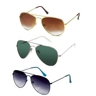 Eddys Sunglass Combo Of Brown, Green  Blue Aviators
