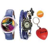 Combo Of Jack Klein Stylish Blue Color Graphic And Vintage Watches With Key Chain