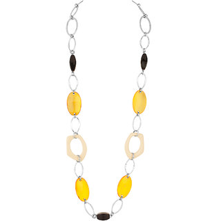 Metallic Rings Yellow Crystal Black Bead Beaded Necklace