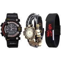 Combo Of Jack Klein Stylish S-Shock Analog-Digital Watch, Black Vintage And Black LED Watch