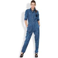 Tokyo Talkies Blue Cotton Plain Jumpsuit