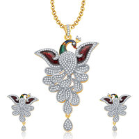 Sukkhi Eminent Peacock Gold And Rhodium Plated CZ Pendant Set For Women