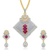 Sukkhi Encrusted Gold And Rhodium Plated Ruby CZ Pendant Set For Women