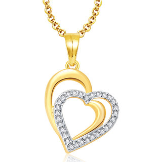 Sukkhi Heartly Gold And Rhodium Plated CZ Pendant For Women